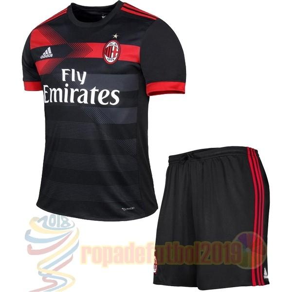 Mejores Tienda Camisetas Tercera Conjunto De Niños Ac Milan 2017 2018 Negro 119c698a7a60c