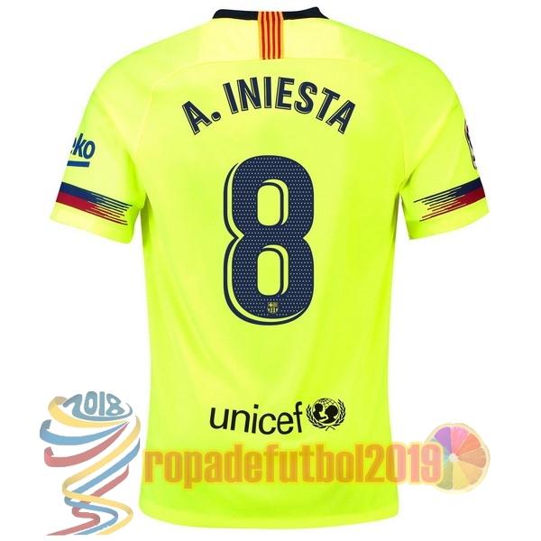 Mejores Tienda Camisetas NO.8 A.Iniesta Segunda Camiseta Barcelona 2018  2019 Verde 3e9458d91b3c3