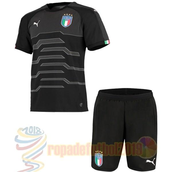 489ce6d06 Mejores Tienda Camisetas Conjunto De Niños Portero Italia 2018 Negro