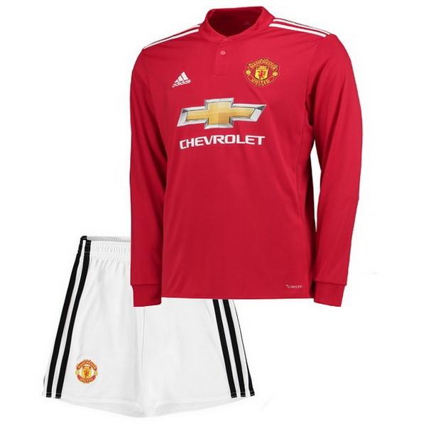 Mejores Tienda Camisetas Casa Camiseta Manga Larga Niños Manchester United  2017 2018 Blanco Rojo 826b39d50adf7