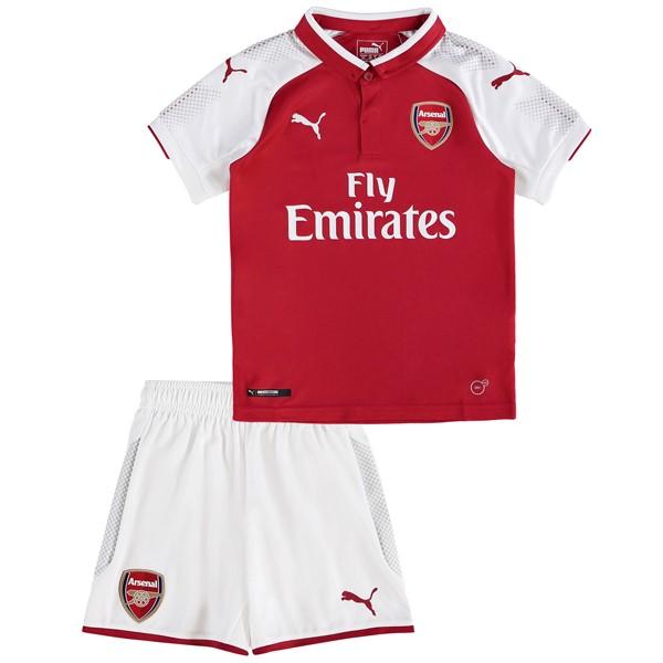 Mejores Tienda Camisetas Casa Conjunto De Niños Arsenal 2017 2018 Blanco  Rojo e32eed14dbccb
