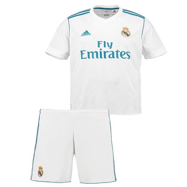 Mejores Tienda Camisetas Casa Conjunto De Niños Real Madrid 2017 2018 Blanco eb6c49b010731